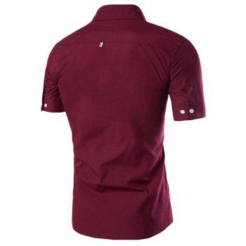 Simple Braid Spliced One Pocket Slimming Shirt Collar Short Sleeves Men's Button-Down Shirt - WINE RED XL
