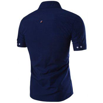 Simple Braid Spliced One Pocket Slimming Shirt Collar Short Sleeves Men's Button-Down Shirt - DEEP BLUE 3XL