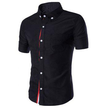 Simple Braid Spliced One Pocket Slimming Shirt Collar Short Sleeves Men's Button-Down Shirt