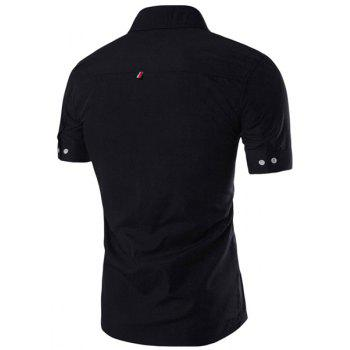 Simple Braid Spliced One Pocket Slimming Shirt Collar Short Sleeves Men's Button-Down Shirt - BLACK 3XL