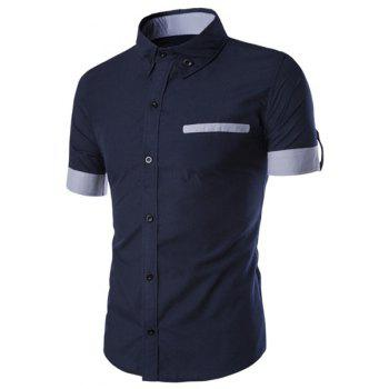 Classic Color Block Fake Pocket Slimming Shirt Collar Short Sleeves Men's Button-Down Shirt