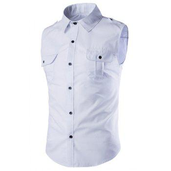 Epaulet and Double Pocket Embellished Slimming Shirt Collar Men's Sleeveless Shirt