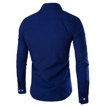 Special One Pocket Color Splicing Shirt Collar Long Sleeves Men's Slimming Shirt - DEEP BLUE M