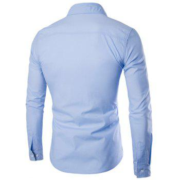 Special One Pocket Color Splicing Shirt Collar Long Sleeves Men's Slimming Shirt - LIGHT BLUE M