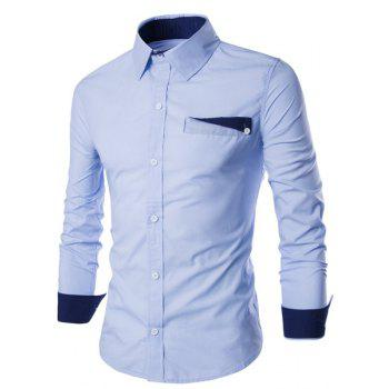 Special One Pocket Color Splicing Shirt Collar Long Sleeves Men's Slimming Shirt