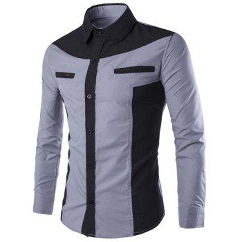 Double Zipper Color Splicing Slimming Shirt Collar Long Sleeves Men's Fashion Shirt