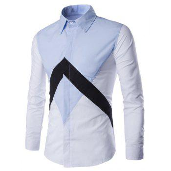 Special Color Lump Spliced Plain Fly Shirt Collar Long Sleeves Men's Slim Fit Shirt