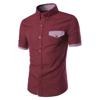 Fake Flap Pocket Plaid Spliced Slimming Shirt Collar Short Sleeves Men's Button-Down Shirt