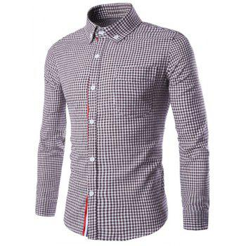 Slimming Braid Spliced One Pocket Shirt Collar Long Sleeves Men's Plaid Shirt