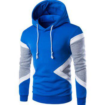 Vogue Hooded Color Lump Splicing Long Sleeves Men's Pullover Hoodie