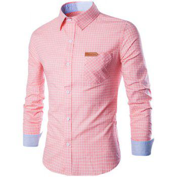 PU Leather Spliced One Pocket Hit Color Shirt Collar Long Sleeves Men's Checked Shirt