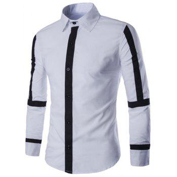 Slimming Shirt Collar Color Block Button Fly Stripes Spliced Men's Long Sleeves Shirt