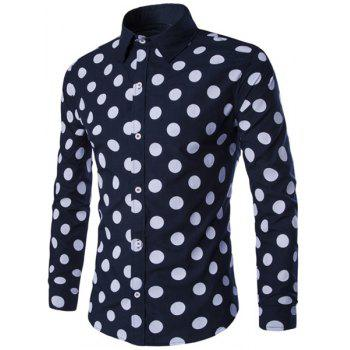 Vogue Shirt Collar Color Block Slimming Long Sleeves Men's Polka Dot Shirt