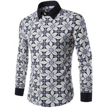 Fashion Shirt Collar Color Block Floral Print Long Sleeves Men's Slimming Shirt