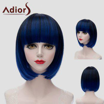 Trendy Short Full Bang Synthetic Bob Style Straight Black Blue Mixed Women's Wig