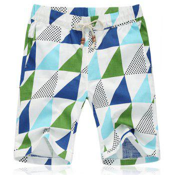 Lace Up Triangle Printing Loose Fifth Pants Beach Shorts For Men