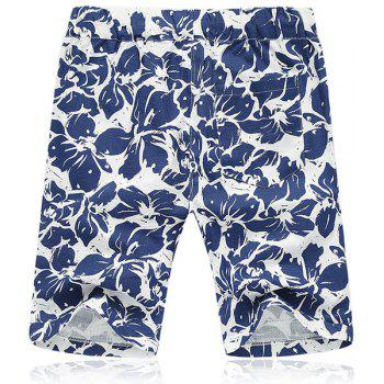 Lace Up Flower Printing Loose Fifth Pants Beach Shorts For Men - BLUE BLUE