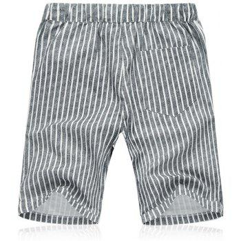 Lace Up Loose Vertical Stripe Fifth Pants Beach Shorts For Men - XL XL