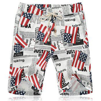 Lace Up Loose Flag Printed Fifth Pants Beach Shorts