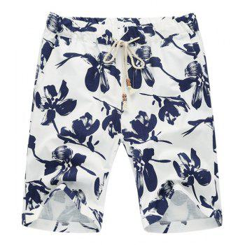 Lace Up Loose Flower Printed Fifth Pants Beach Shorts For Men