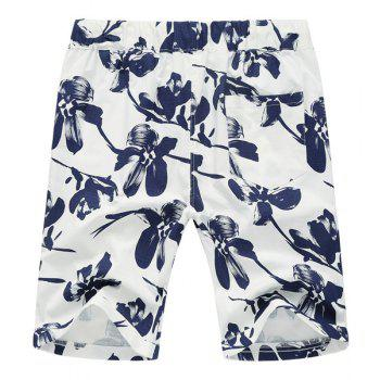Lace Up Loose Flower Printed Fifth Pants Beach Shorts For Men - 5XL 5XL