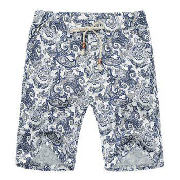 Lace Up Loose Printed Fifth Pants Beach Shorts For Men - COLORMIX COLORMIX