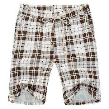 Plaid Loose Lace Up Fifth Pants Beach Shorts For Men - WHITE AND BROWN WHITE/BROWN