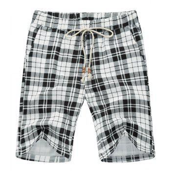 Plaid Loose Lace Up Fifth Pants Beach Shorts For Men - WHITE AND BLACK WHITE/BLACK