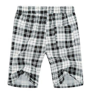 Plaid Loose Lace Up Fifth Pants Beach Shorts For Men - WHITE/BLACK WHITE/BLACK