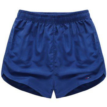 Simple Solid Color Elastic Waist Men's Shorts - SAPPHIRE BLUE SAPPHIRE BLUE