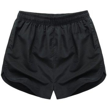 Simple Solid Color Elastic Waist Men's Shorts