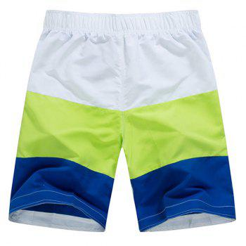 Straight Leg Color Block Splicing Drawstring Men's Board Shorts - L L