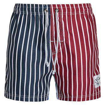 Straight Leg Drawstring Vertical Stripes Print Color Block Splicing Men's Board Shorts - COLORMIX COLORMIX