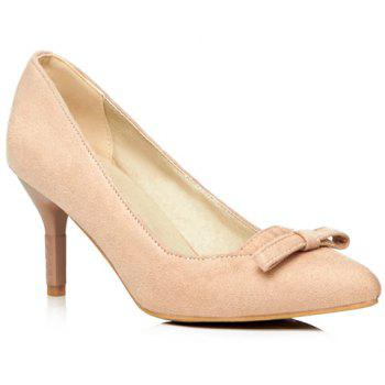 Simple Bowknot and Suede Design Pumps For Women