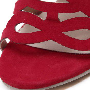 High Heel Caged Sandals with Ankle Strap - RED 38