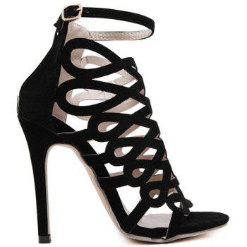 High Heel Caged Sandals with Ankle Strap - BLACK 40