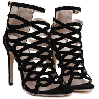 High Heel Caged Sandals with Ankle Strap - BLACK 39