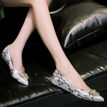 Elegant Rhinestone and Pointed Toe Design Flat Shoes For Women - 37 37