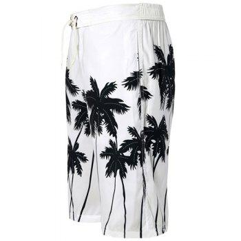 Straight Leg Coconut Palm Print Drawstring Men's Board Shorts - WHITE WHITE