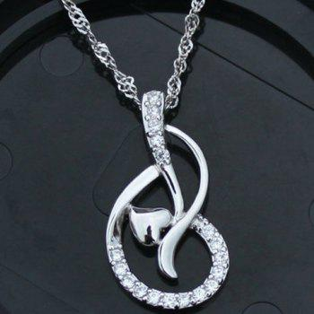 Heart Rhinestoned Necklace - SILVER