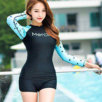 Sweet Letter Print Long Sleeves  Two-Piece Swimsuit For Women