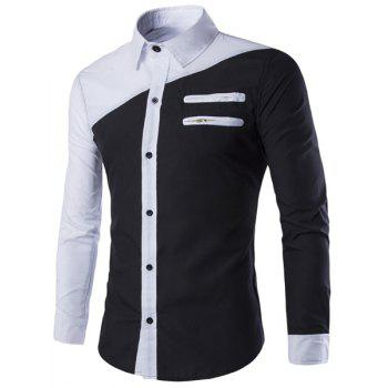 Double Zipper Slimming Shirt Collar Long Sleeves Men's Cool Shirt