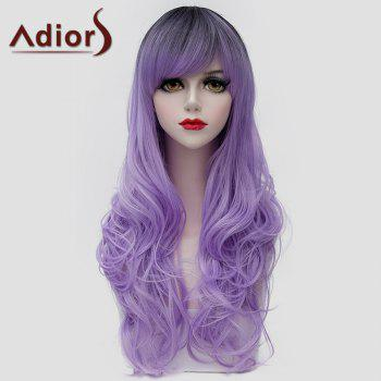 Fluffy Wave Black Ombre Light Purple Outstanding Long Synthetic Universal Wig For Women - BLACK/PURPLE