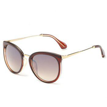 Chic Tea-Colored Frame Metal Splicing Women's Sunglasses