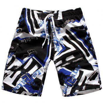 Straight Leg Hit Color Geometric Print Drawstring Men's Board Shorts - BLUE L