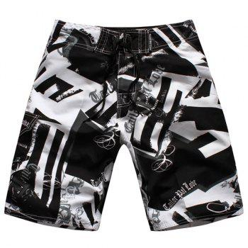 Straight Leg Hit Color Geometric Print Drawstring Men's Board Shorts - WHITE AND BLACK WHITE/BLACK