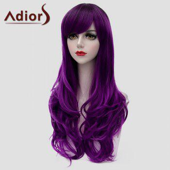 Attractive Long Side Bang Purple Fluffy Wavy Women's Synthetic Universal Wig - PURPLE
