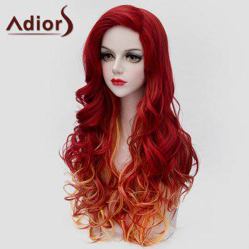 Fluffy Wavy Synthetic Charming Jacinth Ombre Orange Long Wig For Women - OMBRE