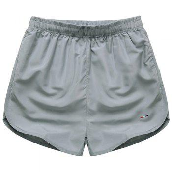 Simple Solid Color Elastic Waist Men's Shorts - GRAY GRAY