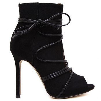 Trendy Lace-Up and Peep Toe Design Pumps For Women - BLACK 35